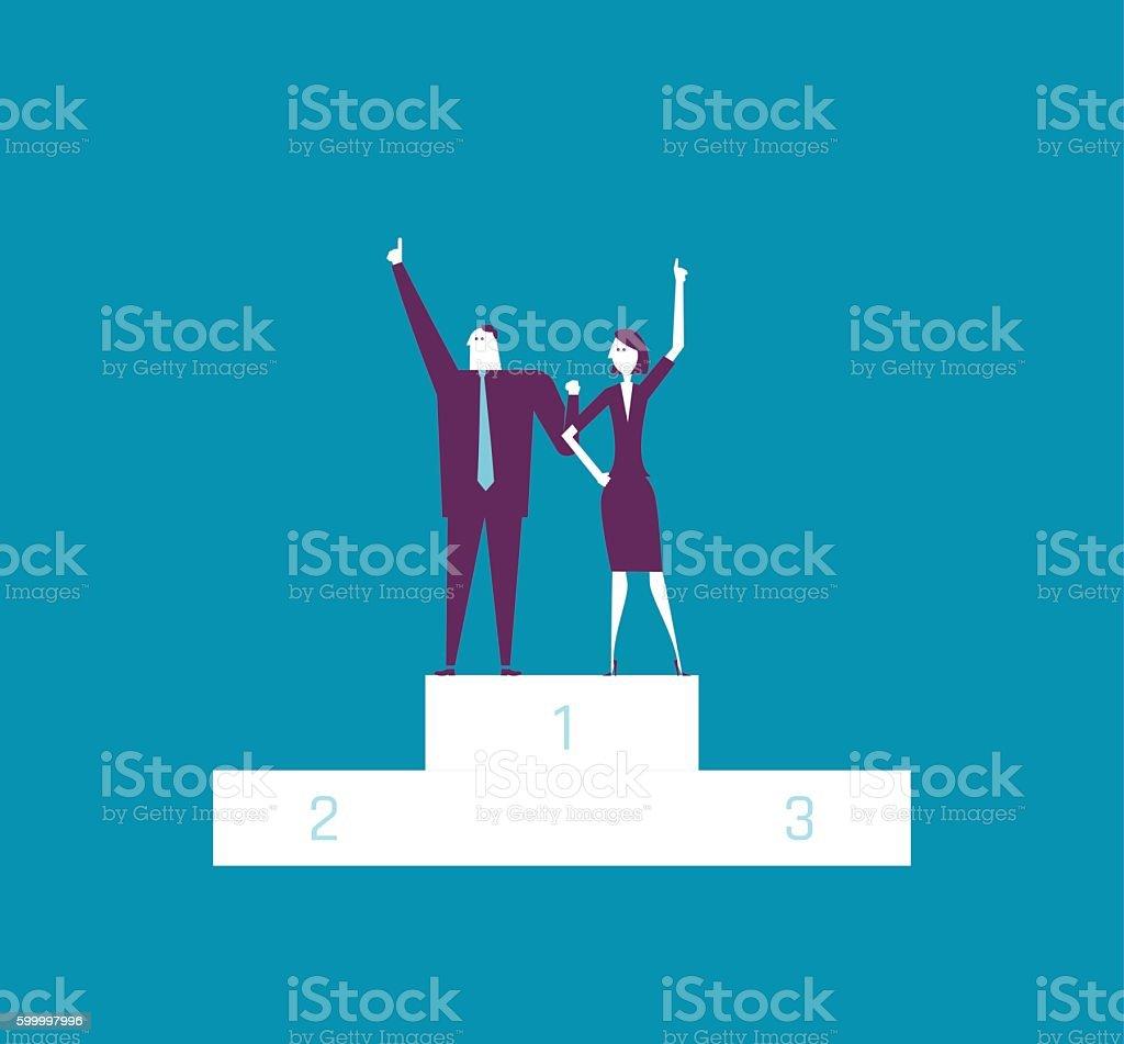 Winner Businesswoman and Businessman Raising Hands on Platforma vector art illustration