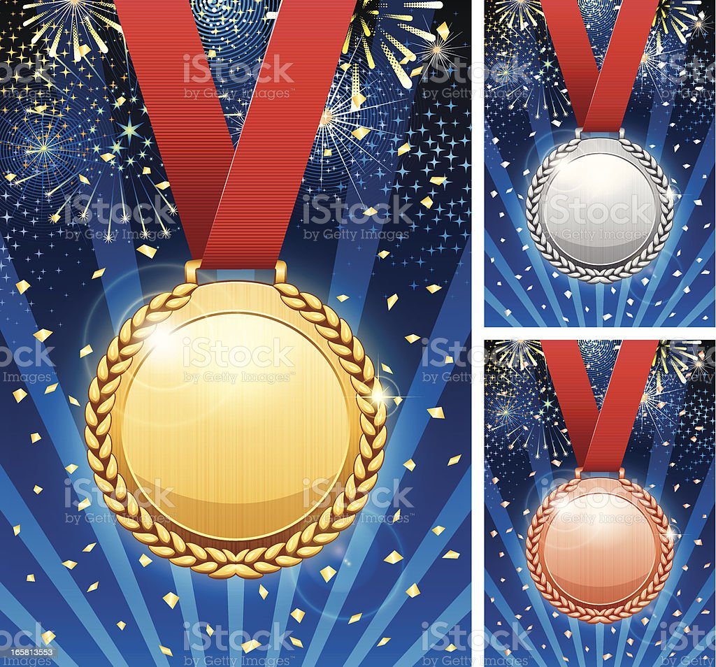 Winner celebration with medals royalty-free stock vector art