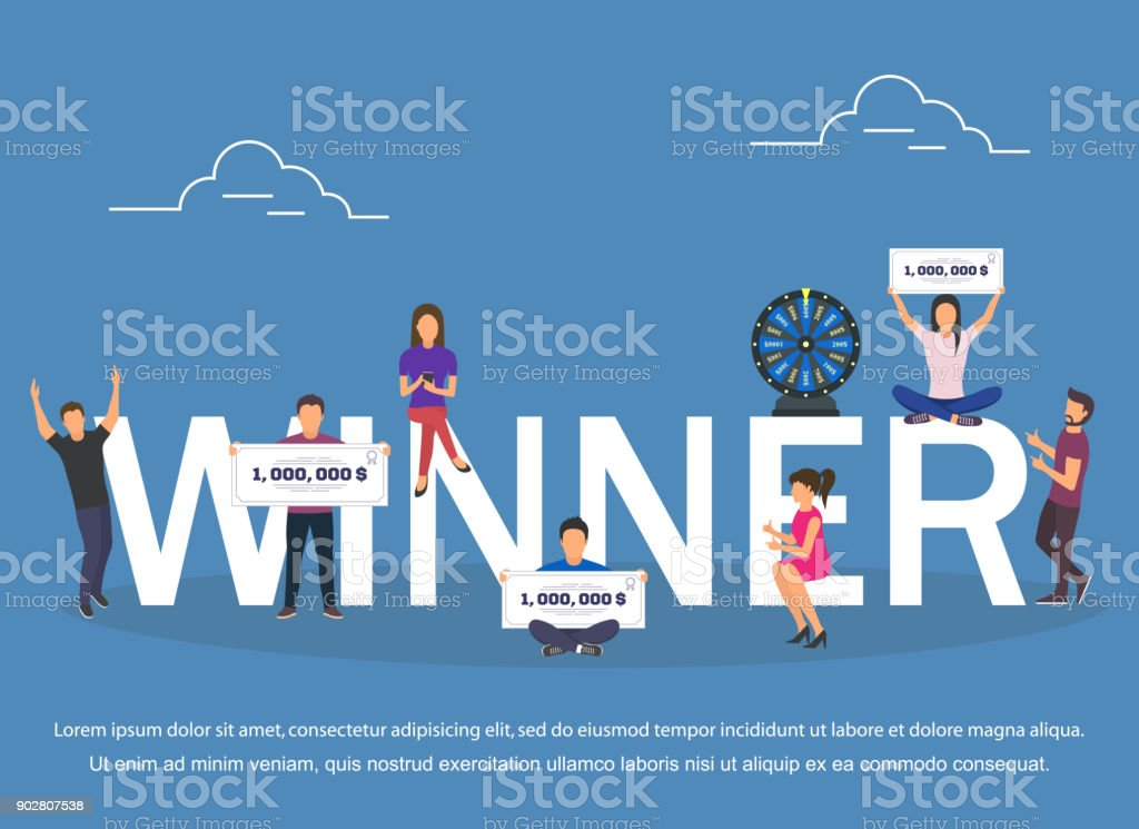 Winner concept set with winning combinations flat design vector art illustration