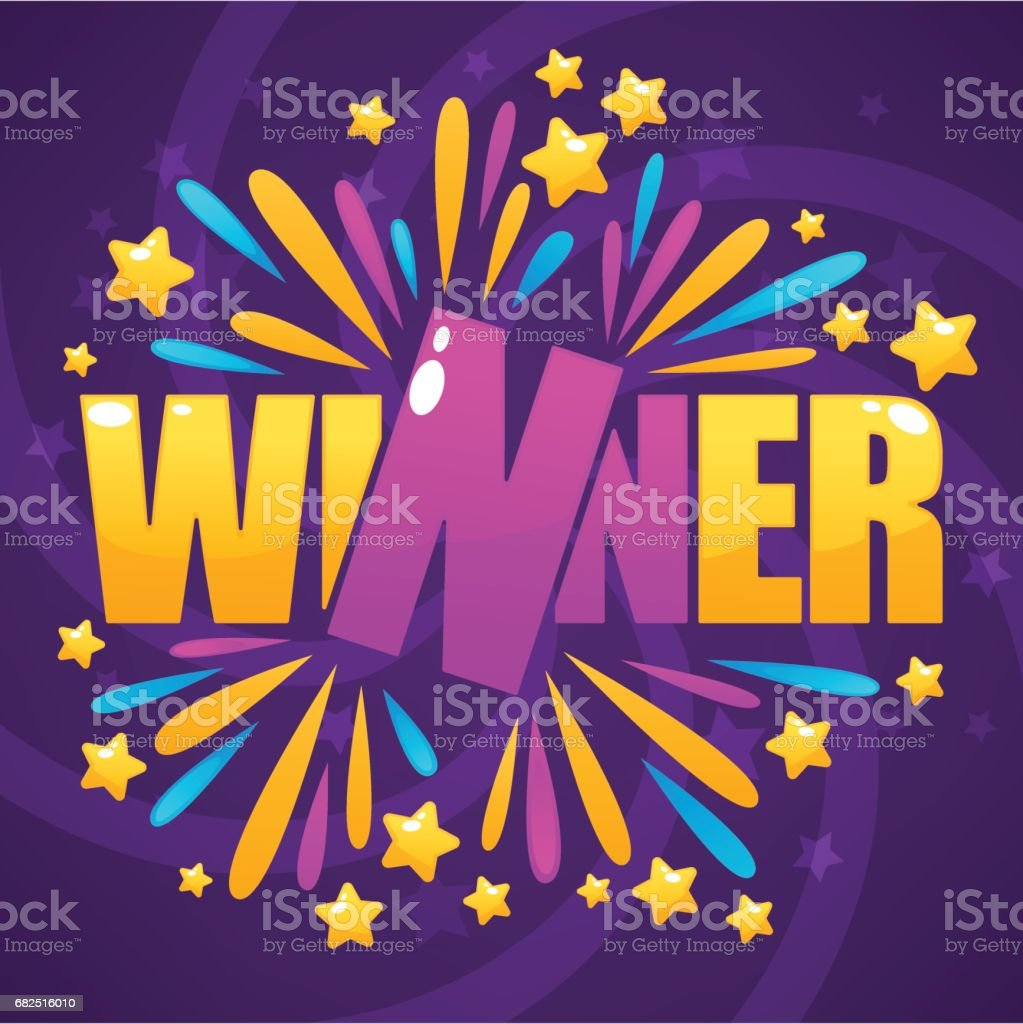 winner, congratulation bright and glossy banner with lettering composition vector art illustration