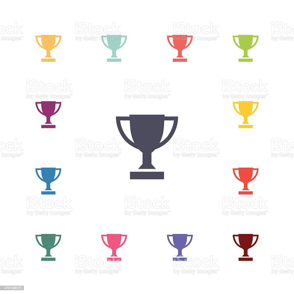 winner cup flat icons set vector art illustration