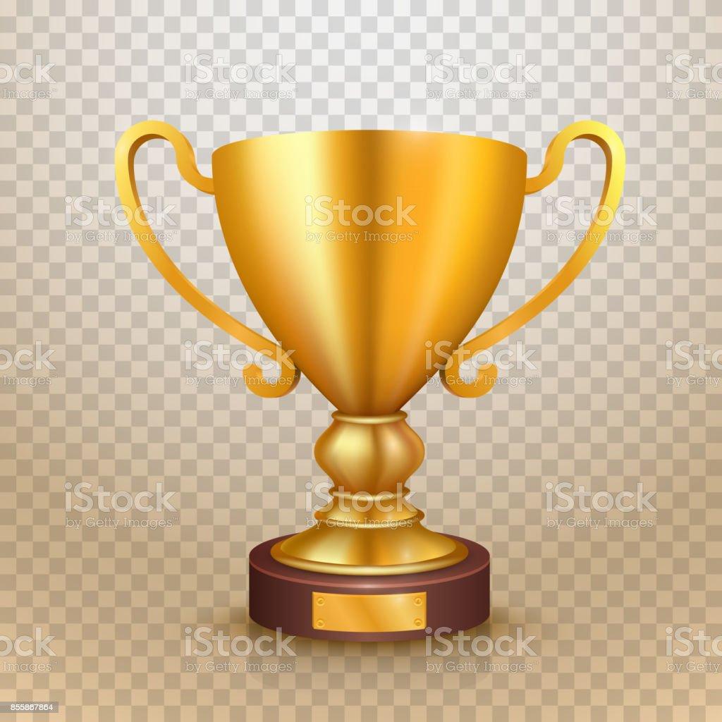 Winner cup gold sign. object. vector art illustration
