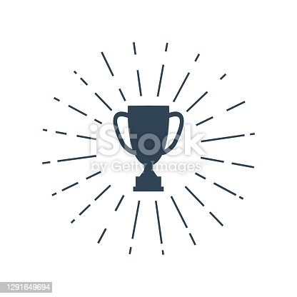 Winner cup icon with sunburst. Champion victory trophy silhouette. Black success sign vector isolated on white.
