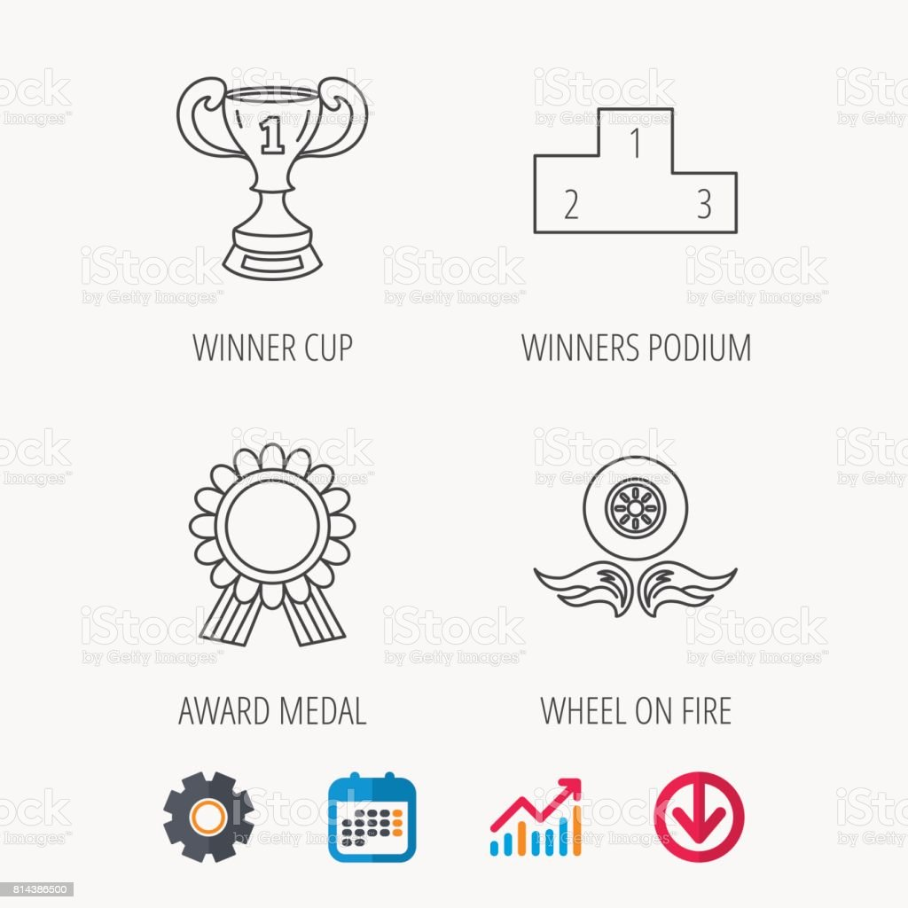 Winner cup, podium and award medal icons. vector art illustration