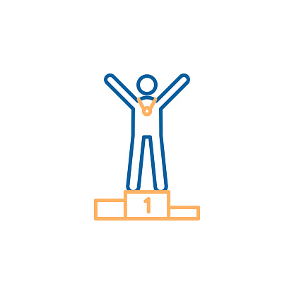Winner first place standing at the winners podium. Vector thin line icon trendy design