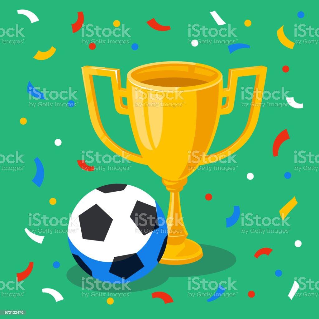 Ilustración de Taza Del Ganador De Oro Balón De Fútbol Y Confeti ... aa945ef138ae2