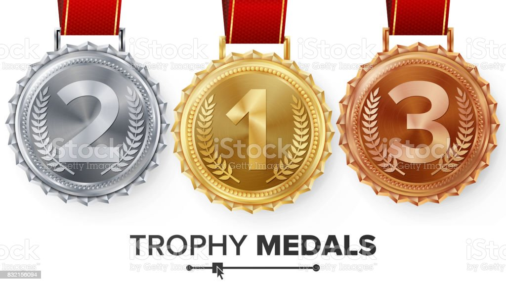 Winner Gold, Silver, Bronze Medals Set Vector. Metal Realistic Badge With First, Second, Third Placement Achievement. Round Label With Red Ribbon. Competition Golden, Silver, Bronze Trophy vector art illustration