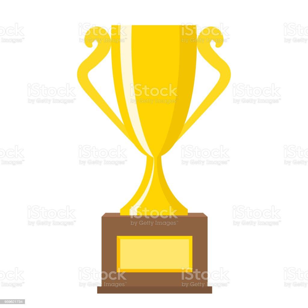 Oro de oro trofeo ganador tazas de iconos de vector plano para concepto de la victoria de deportivo. Premio deporte y premios, Ilustración de Copa trofeo - arte vectorial de Amarillo - Color libre de derechos