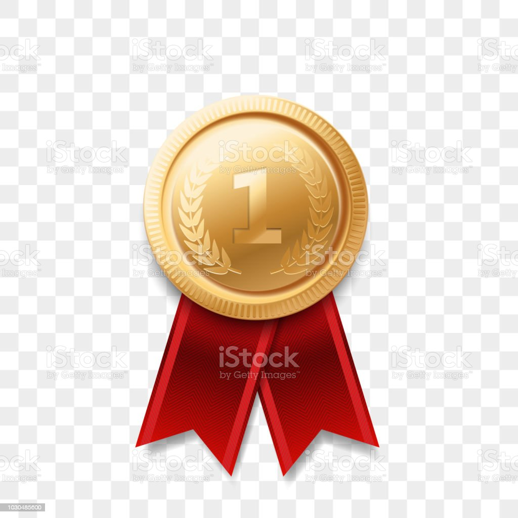 c2fae11bcf7c 1 winner golden medal award with ribbon vector realistic icon isolated on transparent  background. Number one 1st place or best victory champion prize award ...