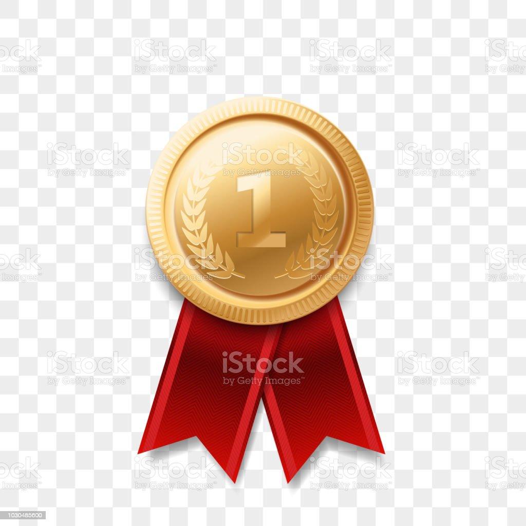1 Winner Golden Medal Award With Ribbon Vector Realistic ...
