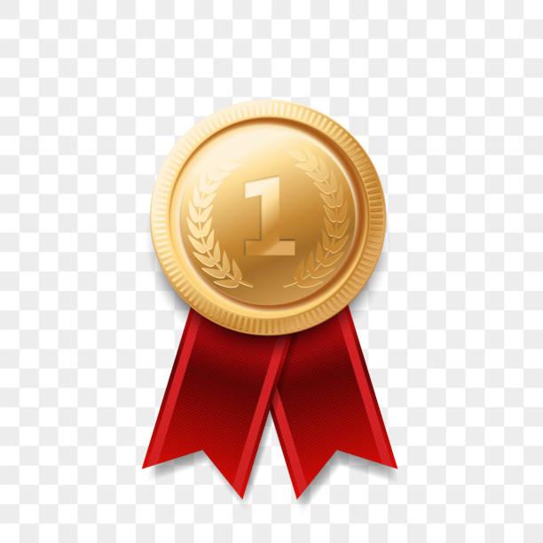 bildbanksillustrationer, clip art samt tecknat material och ikoner med 1 vinnare golden medal award med vektor realistiska bandikon isolerad på transparent bakgrund. nummer ett 1: a plats eller bästa seger champion prize award glänsande guld badge - nummer 1