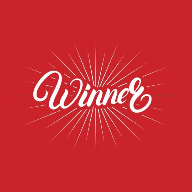 Winner hand written lettering poster. vector art illustration