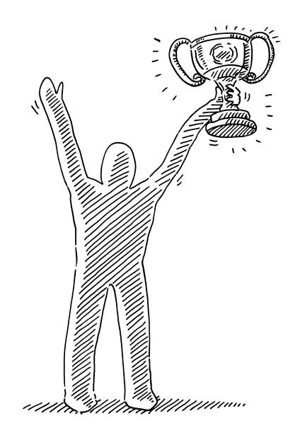Winner Human Figure Trophy Drawing Hand-drawn vector drawing of a Winner Human Figure with a big Trophy. Black-and-White sketch on a transparent background (.eps-file). Included files are EPS (v10) and Hi-Res JPG. sport stock illustrations
