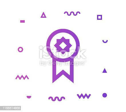 Winner outline style icon design with decorations and gradient color. Line vector icon illustration for modern infographics, mobile designs and web banners.