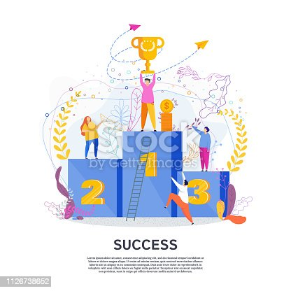 The winner on the first step of the podium raises the cup above his head. Champion trophy, success in competition, the best result. Tiny people flat design style vector graphic illustration.