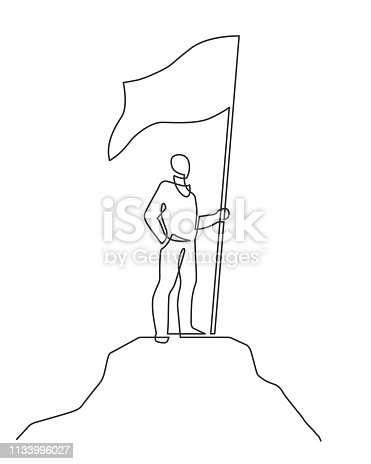 Continuous line drawing of winner holding flag on mountain. Simbol of success. Vector illustration