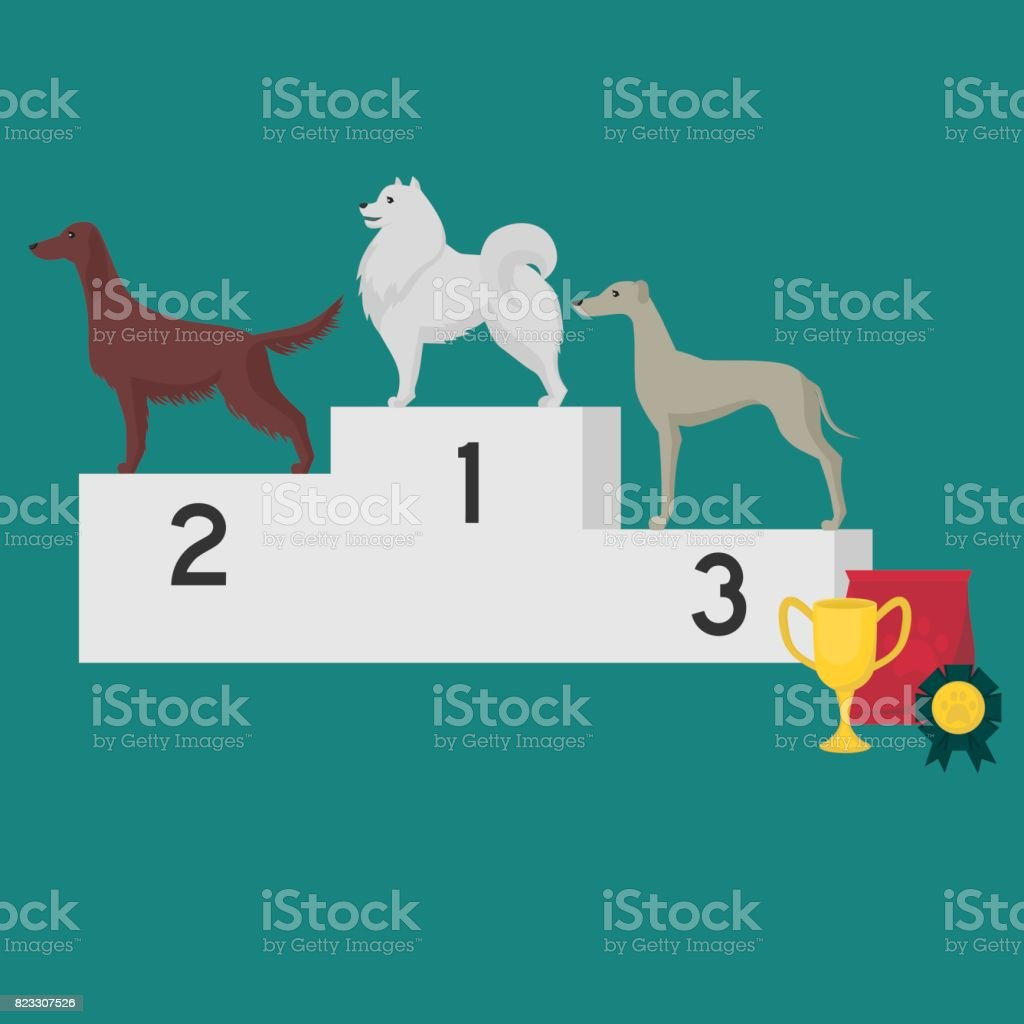 Winner pedestal. Puppy wining a dog show, pet on the first place. Gold trophy Cup on prize podium. Award ceremony animal, doggy champion medal, competition platform. vector art illustration