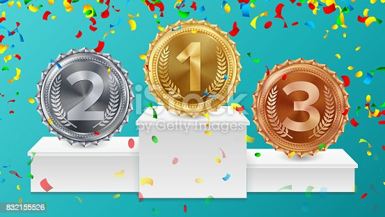 istock Winner Pedestal With Gold, Silver, Bronze Medals Vector. White Winners Podium. Number One. Red Ribbon, Olive Branch, Confetti. Competition Trophy. Isolated Illustration 832155526