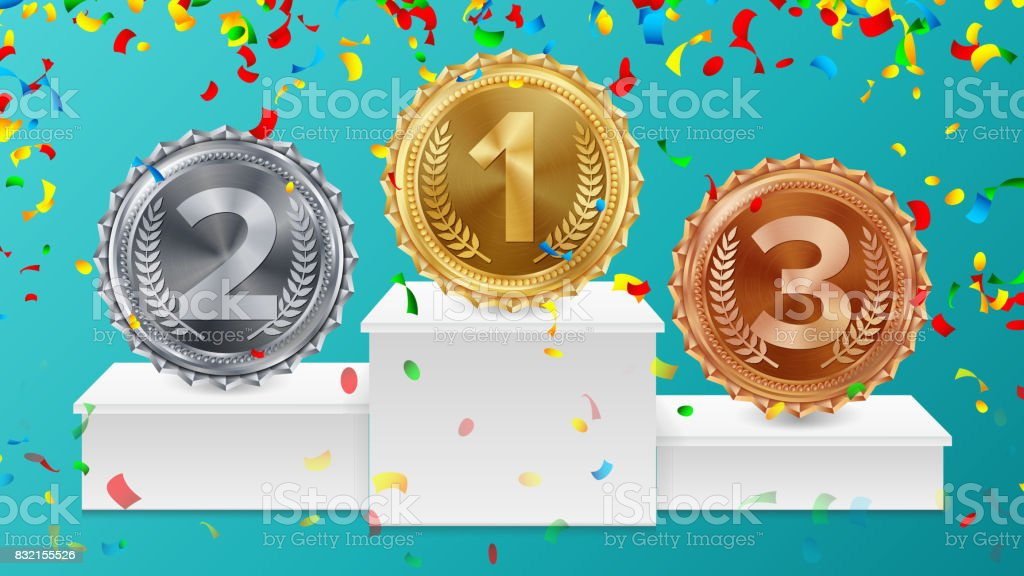 Winner Pedestal With Gold, Silver, Bronze Medals Vector. White Winners Podium. Number One. Red Ribbon, Olive Branch, Confetti. Competition Trophy. Isolated Illustration vector art illustration