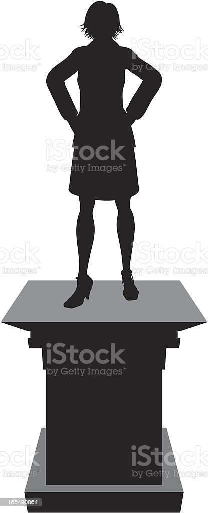 Winner Pedestal - Woman royalty-free stock vector art