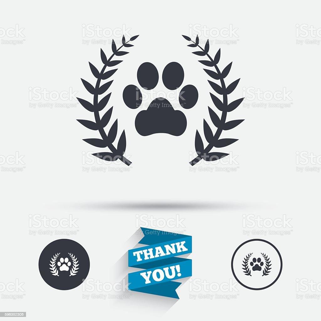 Gewinner Haustiere Lorbeerkranz-Symbol. Lizenzfreies gewinner haustiere lorbeerkranzsymbol stock vektor art und mehr bilder von abzeichen