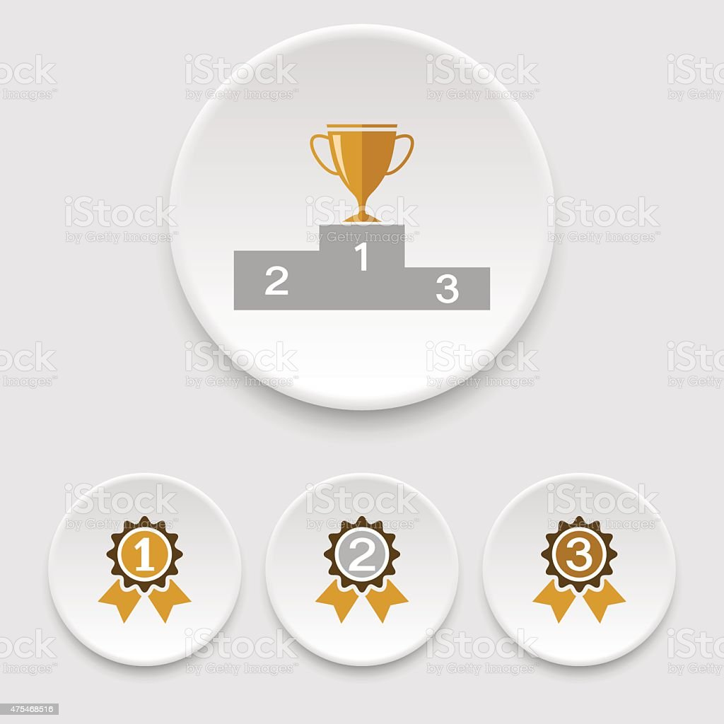 Winner podium, champion cup and awards icons vector art illustration