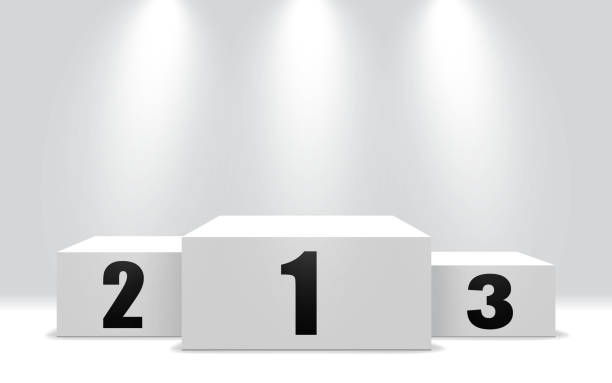 Winner podium with 3 stand. White pedestal for win of first, second and third stage. Winner pedestal with spotlight. vector illustration Winner podium with 3 stand. White pedestal for win of first, second and third stage. Winner pedestal with spotlight. vector eps10 gezond stock illustrations
