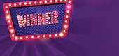 Winner retro banner with glowing lamps.