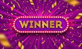 Winner retro signboard and golden foil confetti against a light burst background. Vector illustration. Winner light bulb frame with glitter gold letters. Winners logo.