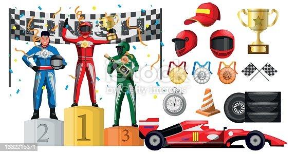istock Winner reward ceremony in motor race formula car competition 1332215371