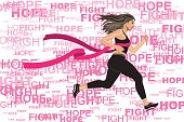 Woman Win her Run Competition for breast cancer awareness with Pink Ribbon of Finish Line