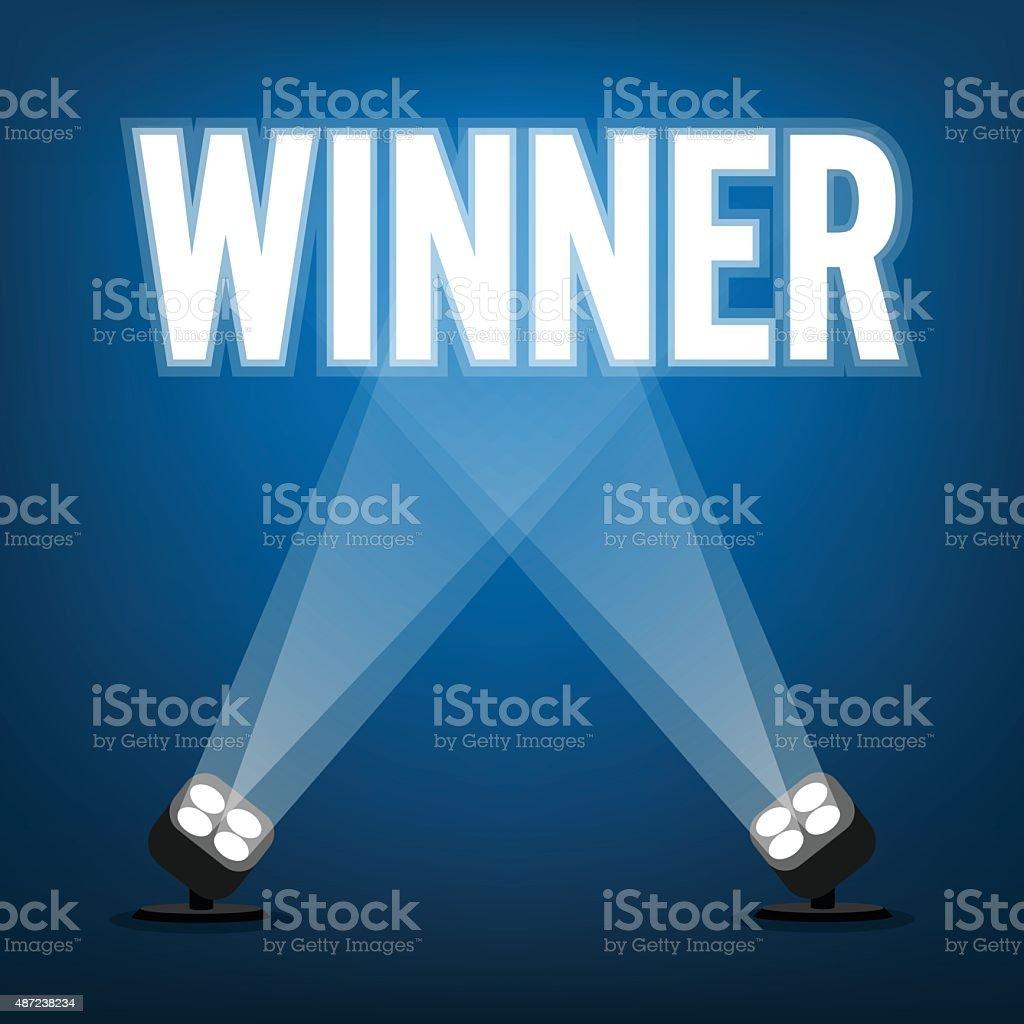 Winner signs with spotlight illuminate vector art illustration