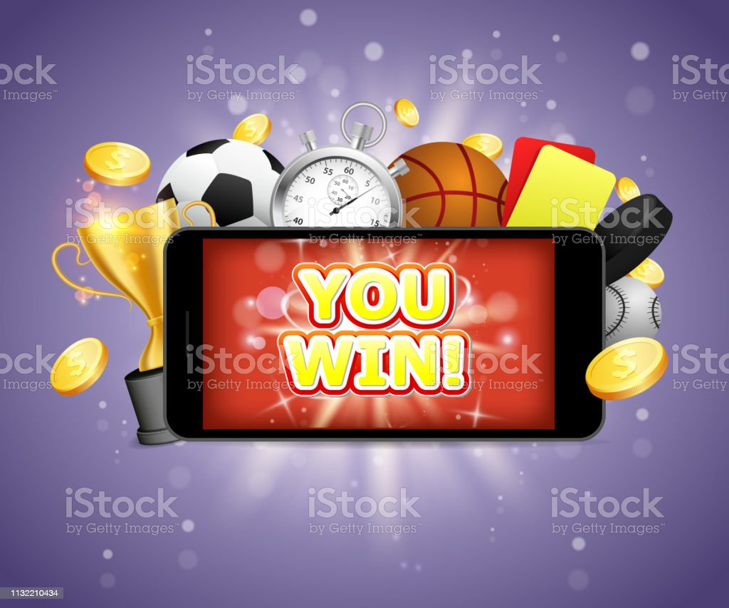 You win, sports betting vector poster banner design template. Winner...