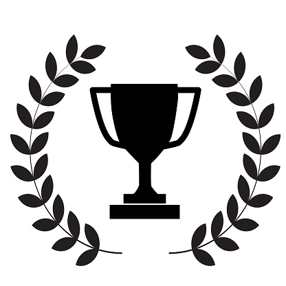 winner trophy cup icon on white background. flat style. laurel wreath with trophy icon for your web site design, logo, app, UI. winner trophy symbol. laurel wreath with trophy sign.