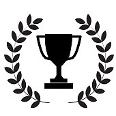 istock winner trophy cup icon on white background. flat style. laurel wreath with trophy icon for your web site design, logo, app, UI. winner trophy symbol. laurel wreath with trophy sign. 1190771780