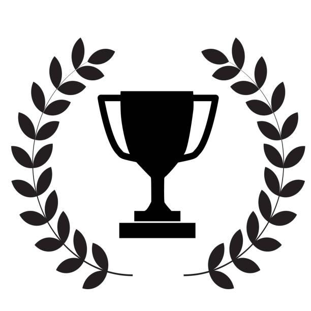 ilustrações, clipart, desenhos animados e ícones de ícone do copo do troféu do vencedor no fundo branco. estilo plano. coroa de louro com ícone de troféu para o design do seu site, logotipo, aplicativo, ui. símbolo do troféu vencedor. grinalda do louro com sinal do troféu. - troféu
