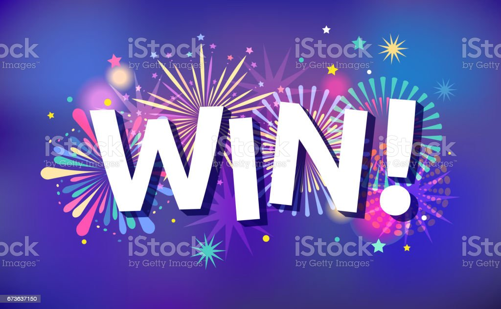winner victory background banner design fireworks and celebration