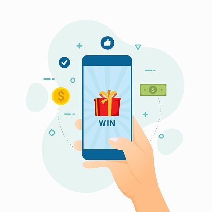 Winner won the money in the application design concept vector illustration