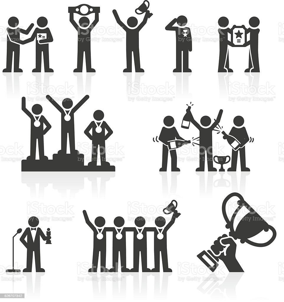 Gagnants Stickmen icônes &  des récompenses - Illustration vectorielle