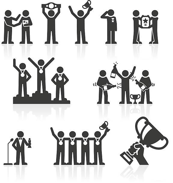 Winners & Awards Stickmen Icons Winners & Awards Stickmen Icons saluting stock illustrations
