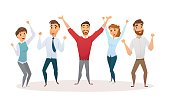 Winners business team celebrating victory in office. Happy people in smart casual wear standing and gesturing. Everyday successful man and woman with arms up. Isolated on white