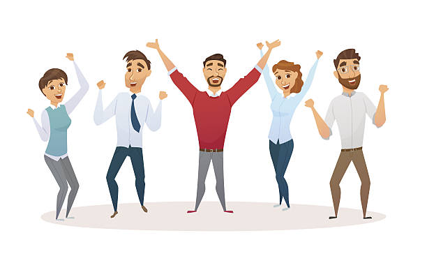 Winners business team Winners business team celebrating victory in office. Happy people in smart casual wear standing and gesturing. Everyday successful man and woman with arms up. Isolated on white yeah right stock illustrations