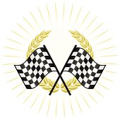 Blank racing emblem with burst, gold laurel wreath and checkered flags. Use it as is or add your own logo, trophy, text, etc.