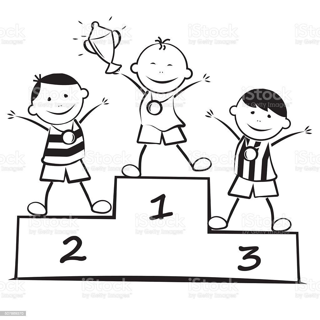 Winners on the podium coloring book stock vector art - Dessin podium ...