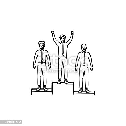 Winners on the podium hand drawn outline doodle icon. Business and sport success, award ceremony, first concept. Vector sketch illustration for print, web, mobile and infographics on white background.