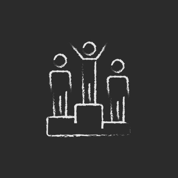 Winners on the podium icon drawn in chalk vector art illustration
