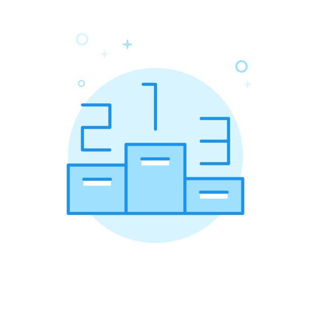 ilustrações, clipart, desenhos animados e ícones de vencedores pódio vector plana ícone, símbolo, pictograma, sinal. projeto monocromático azul claro. curso editável - segundo grau