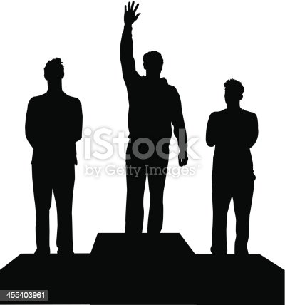 Silhouettes of three champions at the winners podium.  This file is layered, ready for editing. Figures can be separated from the podium.