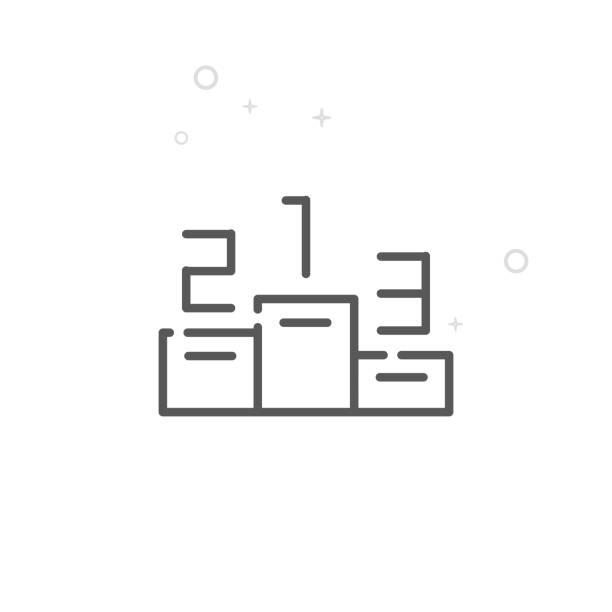 ilustrações, clipart, desenhos animados e ícones de pódio de vencedores vetor linha ícone, símbolo, pictograma, assinar. luz de fundo geométrico abstrato. curso editável - segundo grau