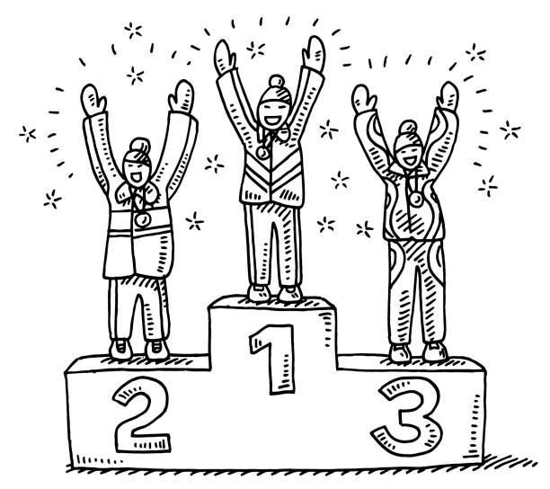 Winners Podium Winter Sport Drawing Hand-drawn vector drawing of three Women on a Winners Podium, Winter Sport Ceremony. Black-and-White sketch on a transparent background (.eps-file). Included files are EPS (v10) and Hi-Res JPG. celebration stock illustrations
